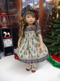Log Cabin Christmas - dress, hat, socks & shoes for Little Darling Doll or 33cm BJD