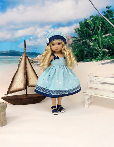 Love Anchor - dress, hat & sandals for Little Darling Doll or 33cm BJD