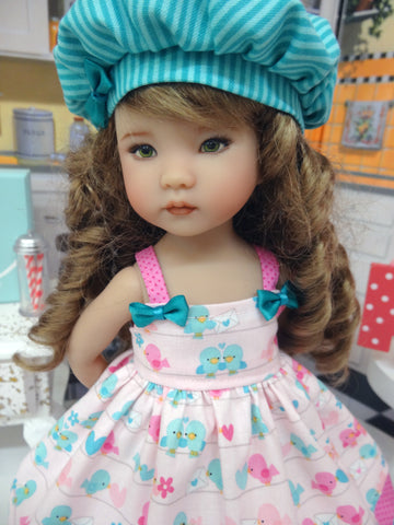 Lovey Dovey - dress, hat, tights & shoes for Little Darling Doll or 33cm BJD