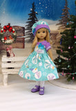 Magic Snowman - dress, hat, tights & shoes for Little Darling Doll or 33cm BJD