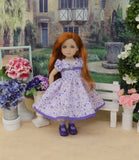 Meadow of Violets - dress, socks & shoes for Little Darling Doll or other 33cm BJD