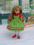 Merry Christmas - dress, blouse, tights & shoes for Little Darling Doll