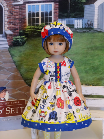 Mickey & Friends - dress, hat, tights & shoes for Little Darling Doll or 33cm BJD