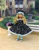 Midnight Garden - dress, hat, tights & shoes for Little Darling Doll or other 33cm BJD