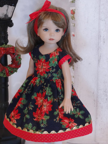 Midnight Poinsettia - dress, tights & shoes for Little Darling Doll or 33cm BJD