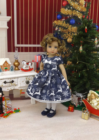 Midnight Reindeer - dress, tights & shoes for Little Darling Doll or other 33cm BJD