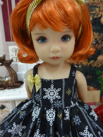 Midnight Snowflakes - dress, tights & shoes for Little Darling Doll or 33cm BJD