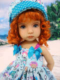 Mini Mermaid - dress, hat, tights & shoes for Little Darling Doll or 33cm BJD