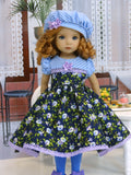 Miniature Morning Glory - dress, hat, tights & shoes for Little Darling Doll