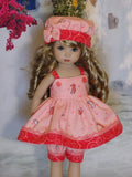 Miniature Seahorse - babydoll top, bloomers, hat & shoes for Little Darling Doll