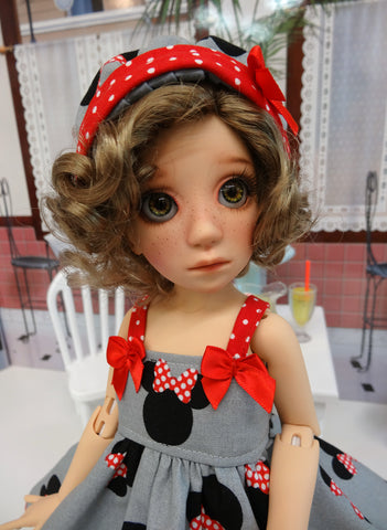 Minnie - dress, hat, tights & shoes for Little Darling Doll or other 33cm BJD