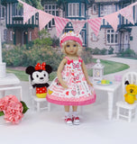 Minnie Bow - dress, hat, socks & shoes for Little Darling Doll or 33cm BJD