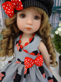 Minnie Fan - dress, hat, socks & shoes for Little Darling Doll or 33cm BJD