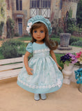 Misty Meadow - dress, hat, tights & shoes for Little Darling Doll or 33cm BJD