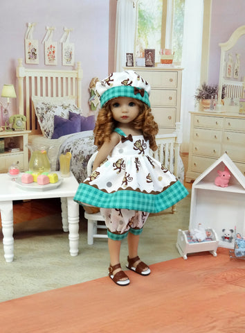 Monkey Business - babydoll top, bloomers, hat & sandals for Little Darling Doll or 33cm BJD