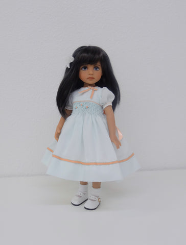 Little Darling Doll Sculpt #4, tan skin tone - Morgan with smocked dress