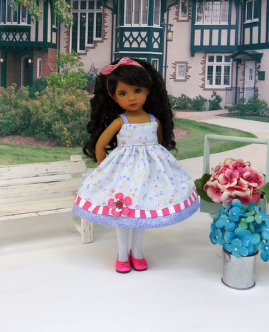 Morning Meadow - dress, tights & shoes for Little Darling Doll or 33cm BJD