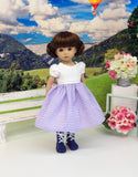 Moselle Valley Beauty - dirndl ensemble with tights & boots for Little Darling Doll or 33cm BJD