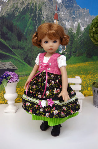 Mountain Morning Glory - dirndl ensemble with tights & boots for Little Darling Doll or 33cm BJD