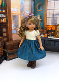 Mountain Wildflowers - dirndl ensemble with tights & boots for Little Darling Doll or 33cm BJD