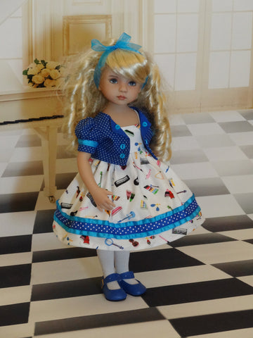 Music Class - dress, jacket, tights & shoes for Little Darling Doll
