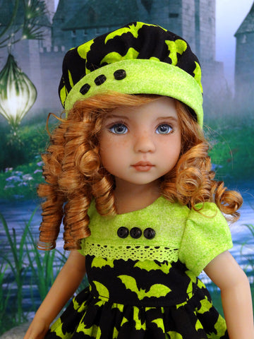 Neon Bats - dress, hat, tights & shoes for Little Darling Doll or 33cm BJD