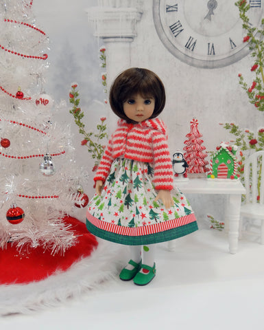 North Pole Forest - dress, sweater, tights & shoes for Little Darling Doll or 33cm BJD