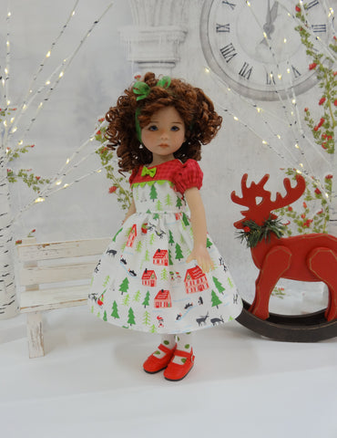 North Pole Village - dress, tights & shoes for Little Darling Doll or 33cm BJD