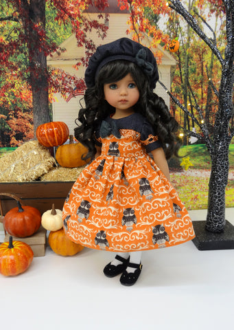 October Owl - dress, beret, tights & shoes for Little Darling Doll or other 33cm BJD