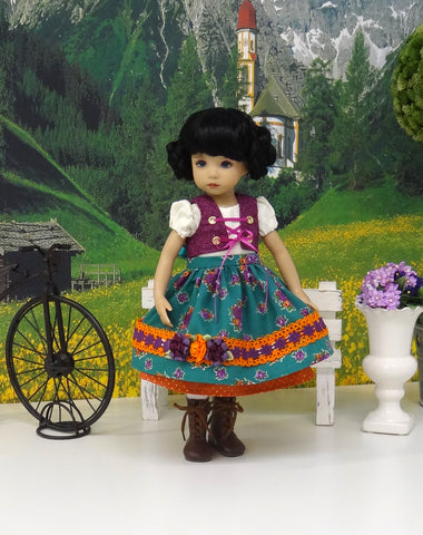 Oktoberfest - dirndl ensemble with tights & boots for Little Darling Doll or 33cm BJD