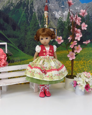 Old European Rose - dirndl ensemble with tights & boots for Little Darling Doll or 33cm BJD