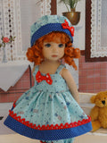 Old Glory - babydoll top, bloomers, hat & sandals for Little Darling Doll