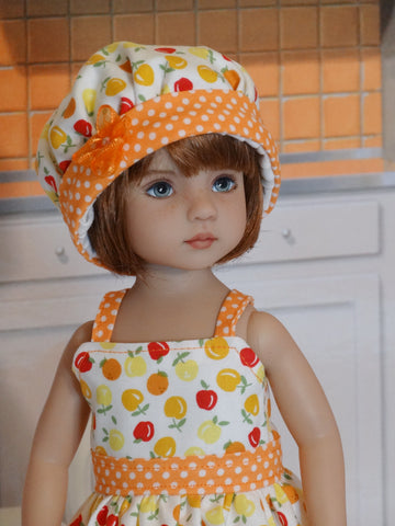 Orange Grove - dress, hat, tights & shoes for Little Darling Doll