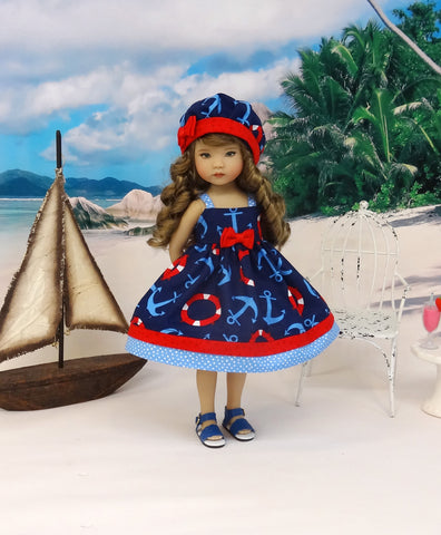 Out to Sea - dress, hat & sandals for Little Darling Doll or 33cm BJD
