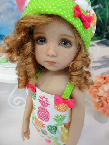 Paradise Pineapple - romper, hat & sandals for Little Darling Doll or 33cm BJD