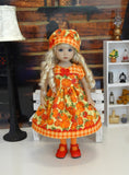Patchwork Pumpkin - dress, hat, tights & shoes for Little Darling Doll