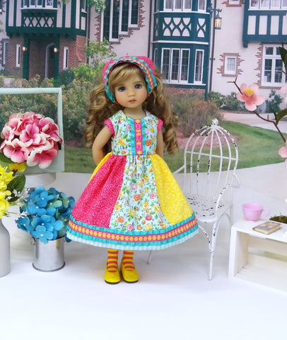 Patchwork Spring - dress, kerchief, tights & shoes for Little Darling Doll or 33cm BJD