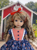 Patriotic Paisley - dress, tights & shoes for Little Darling Doll
