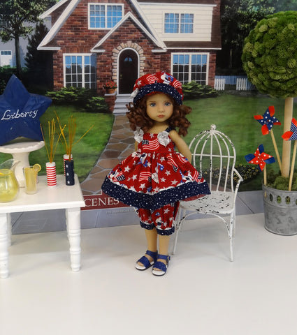 Patriotic Pup - babydoll top, bloomers, hat & sandals for Little Darling Doll or 33cm BJD