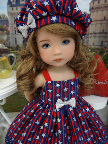 Patriotic Stripes - dress, hat, socks & shoes for Little Darling Doll or 33cm BJD