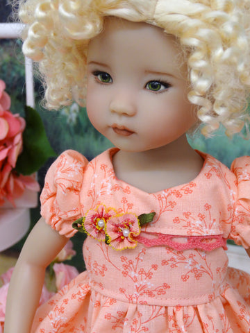 Peach Blossoms - dress, socks & shoes for Little Darling Doll or other 33cm BJD
