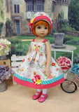 Pedaling Along - dress, hat, tights & shoes for Little Darling Doll or 33cm BJD