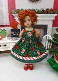 Peppermint Poinsettia - dress, tights & shoes for Little Darling Doll or 33cm BJD