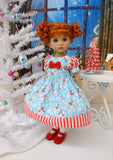 Peppermint Snowman - dress, tights & shoes for Little Darling Doll or 33cm BJD