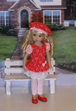 Picnic Date - tunic dress, beret, leggings & shoes for Little Darling Doll