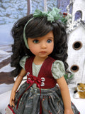Pine Berries - dirndl ensemble with tights & shoes for Little Darling Doll or 33cm BJD