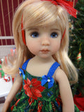 Pinecones & Poinsettias - dress, tights & shoes for Little Darling Doll or 33cm BJD