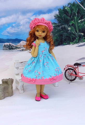 Pink Flamingo - dress, hat & shoes for Little Darling Doll or other 33cm BJD