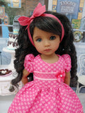 Pink Hearts - dress, tights & shoes for Little Darling Doll or 33cm BJD