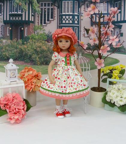 Playday Floral - dress, hat, socks & shoes for Little Darling Doll or 33cm BJD